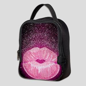Glitter Kissing Lips Neoprene Lunch Bag
