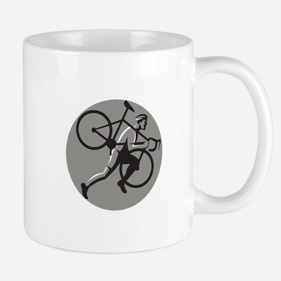 Cyclocross Athlete Carrying Bicycle Circle Retro M