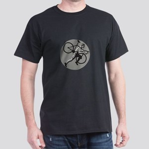 Cyclocross Athlete Carrying Bicycle Circle Retro T
