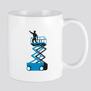 Scissor Lift Worker Pointing Retro Mugs