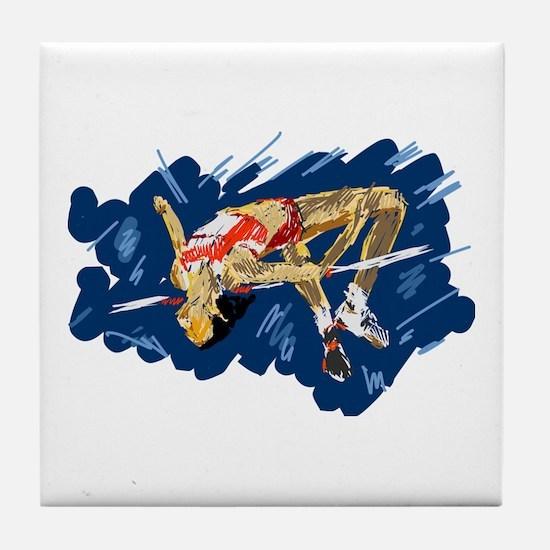 High Jumping Athlete Tile Coaster