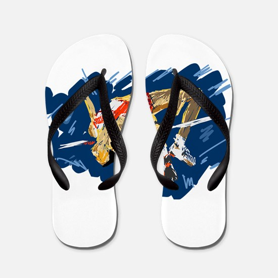 High Jumping Athlete Flip Flops
