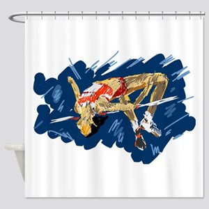High Jumping Athlete Shower Curtain