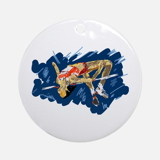 High Jumping Athlete Round Ornament