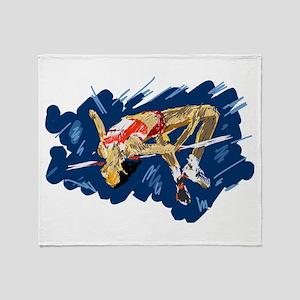 High Jumping Athlete Throw Blanket