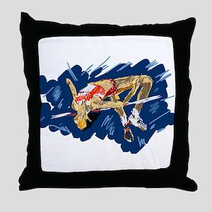 High Jumping Athlete Throw Pillow