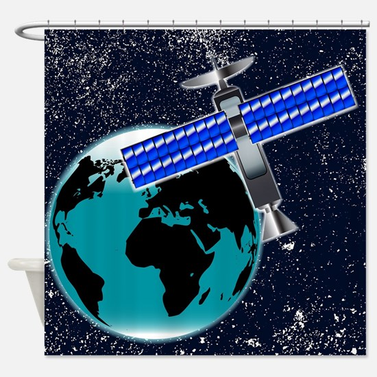 Satellite Over Earth Shower Curtain