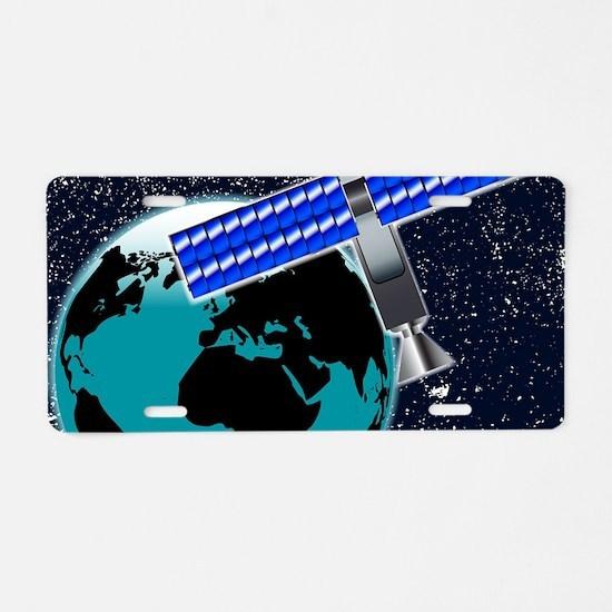 Satellite Over Earth Aluminum License Plate