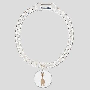 Brown Alpaca Charm Bracelet, One Charm