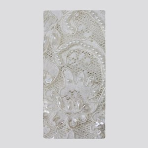 boho chic white lace Beach Towel