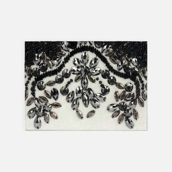 boho floral black rhinestone 5'x7'Area Rug