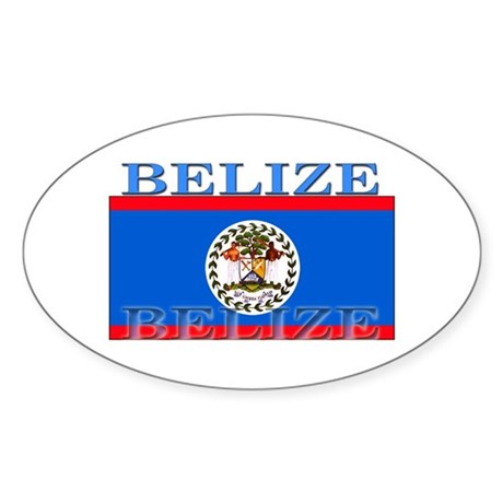 Belize Belizean Flag Oval Sticker