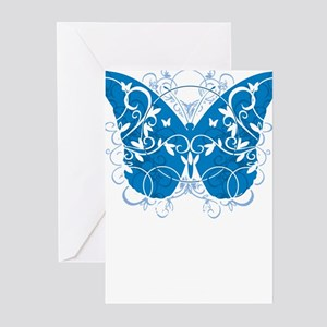 Colon-Cancer-Butterfly-blk Greeting Cards