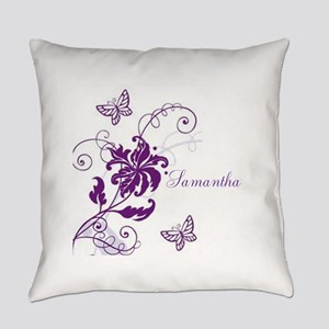 Purple Butterflies and Vines Everyday Pillow