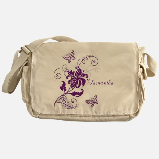 Purple Butterflies and Vines Messenger Bag