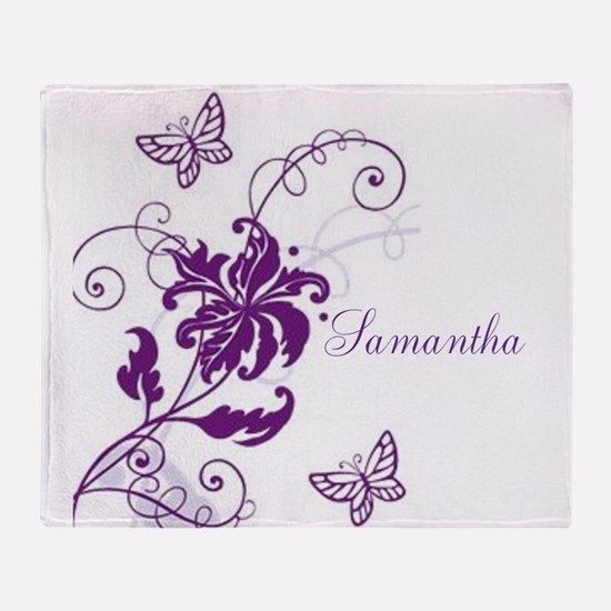 Purple Butterflies and Vines Throw Blanket