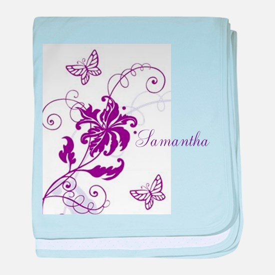 Purple Butterflies and Vines baby blanket