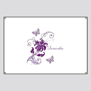 Purple Butterflies and Vines Banner