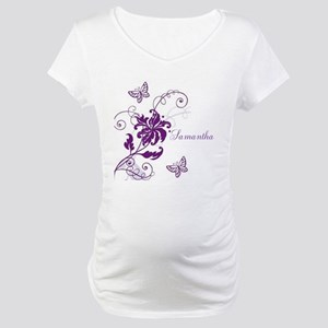 Purple Butterflies and Vines Maternity T-Shirt