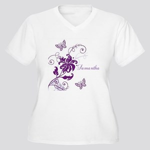 Purple Butterflies and Vines Women's Plus Size V-N