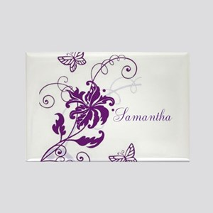 Purple Butterflies and Vines Rectangle Magnet