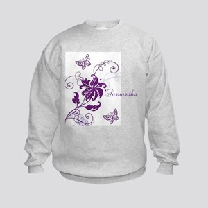 Purple Butterflies and Vines Kids Sweatshirt