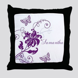 Purple Butterflies and Vines Throw Pillow