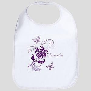 Purple Butterflies and Vines Bib