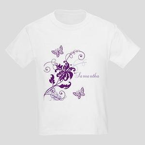 Purple Butterflies and Vines Kids Light T-Shirt