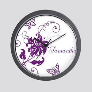 Purple Butterflies and Vines Wall Clock