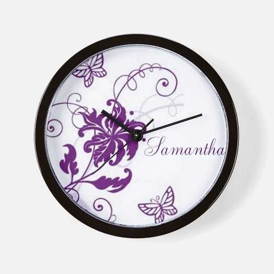 Purple Butterflies and Vines Wall Clock