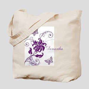 Purple Butterflies and Vines Tote Bag