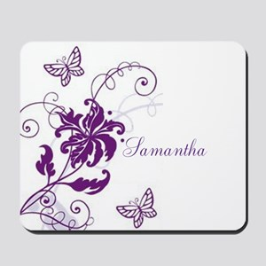Purple Butterflies And Vines Mousepad