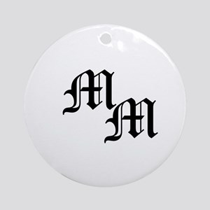Mongram in Black Round Ornament