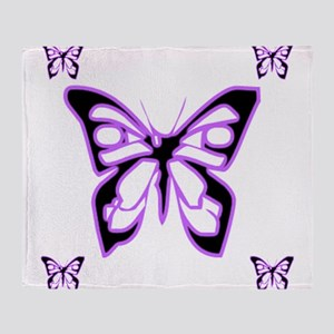 Purple Butterflies Throw Blanket