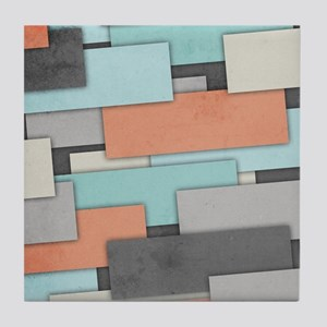 Textured Geometric Abstract Tile Coaster