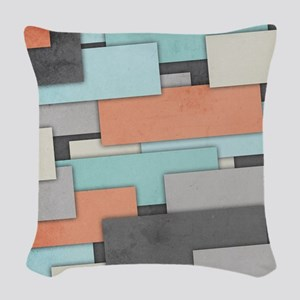 Textured Geometric Abstract Woven Throw Pillow