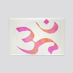 Pink and orange watercolor aum Magnets