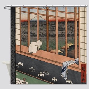 Japanese Cat Neko Shower Curtain