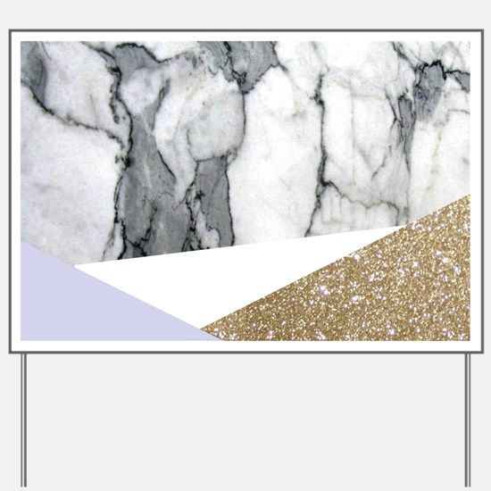 Lilac Glitter White Marble Yard Sign