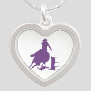 Purple Barrel Racer Female Silver Heart Necklaces
