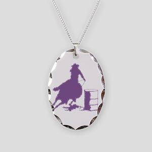 Purple Barrel Racer Female Rid Necklace Oval Charm