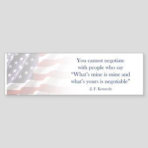 JFK Negotiate Bumper Sticker