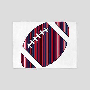 Patriotic Striped Football 5'x7'Area Rug