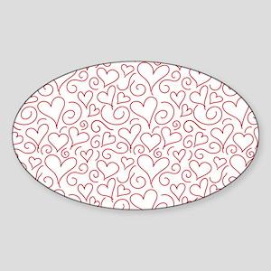 Hearts and Swirls Square Design Sticker