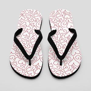 Hearts and Swirls Square Design Flip Flops