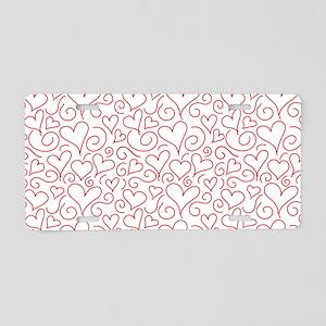 Hearts and Swirls Square De Aluminum License Plate