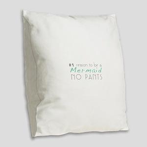 Mermaid No Pants Burlap Throw Pillow
