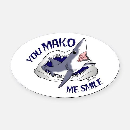 Mako Me Smile Oval Car Magnet
