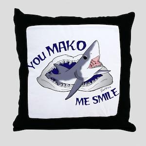 Mako me smile Throw Pillow
